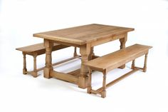 Oak Refectory Table-Cannon Leg - picture 1