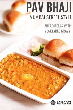 Pav Bhaji is a flavorful meal of mashed vegetable gravy and dinner rolls. Make this best Mumbai pav bhaji recipe on stove-top and instant pot Healthy Indian Snacks, Vegetarian Snacks, Indian Food Recipes, African Recipes, Healthy Food, Mumbai Street Food, Indian Street Food, Curry Recipes, Vegetable Recipes