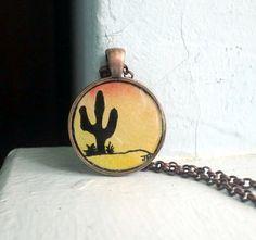 Sunset Desert Cactus Necklace Original Watercolor by LaRueStudio