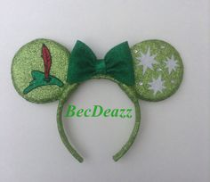 Peter Pan inspired Minnie Mouse ears headband. These ears were a custom request from my Etsy shop, EarzbyBecDeazz.