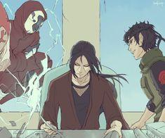 Itachi as Hokage, w/ Shisui as his advisor, and Sasuke as his Anbu protector. Anime Naruto, Anime Ai, Naruto Boys, Naruto Comic, Naruto Cute, Naruto And Sasuke, Itachi Uchiha, Gaara, Kakashi
