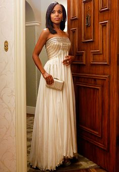 ''Honestly, the thing I love the most is when shes at home in her silk pajama bottoms with some amazing cardigan. [But] of course, I love the gowns. I'm still in love with the Jean Ferre gown that [Olivia wore] when the President was shot,'' costume designer Lyn Paolo says. #Scandal