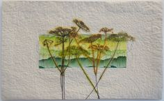I have been making my own fabrics using paintsticks and creating abstract landscape patterns.  I made a series of small wall hangings using this  technique and on some of these pieces I...