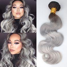 New Arrival #1B/Gray Human Hair Wavy 7A Brazilian Virgin Hair Body Wave Silver Grey Hair Weave 3 Pcs/Lot Ombre Hair Extensions