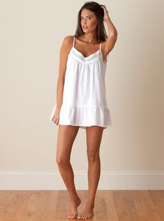 The Jacaranda Living Kristen Nightgown is made from crisp, white cotton and features spaghetti straps, french Lace, and short flounce hem. This sexy nightie is perfect for those warm summer nights. Cotton Nighties, Cotton Sleepwear, Sleepwear Women, Pajamas Women, Lingerie Sleepwear, Nightwear, Cute Nightgowns, Nightgowns For Women, Tween Fashion