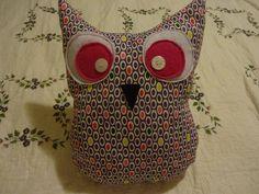 "NEW Whimsical Handmade Owl Throw Pillow 13"" x 10"" COLORFUL OVAL POLKA DOTS #Handmade #Whimsical"