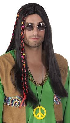 Mens adult 60s 70s black hippy hippie wig + #beads #fancy dress #flower power,  View more on the LINK: 	http://www.zeppy.io/product/gb/2/252252074615/
