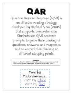 Worksheet Question Answer Relation Teaching Strategy msjordanreads shop teachers notebook qar question stems answer response is an effective reading strategy for comprehension 3 00