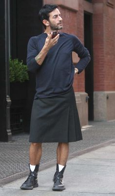 Marc Jacobs wearing a skirt.