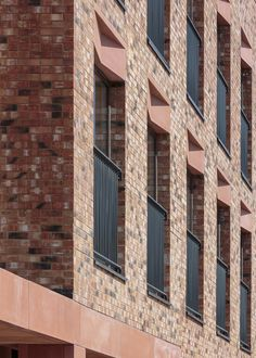 Image 7 of 20 from gallery of Gainsford Road Housing / Gort Scott. Photograph by Dirk Lindner Brick Architecture, Architecture Details, Windows And Doors, Bay Windows, Roof Extension, Social Housing, Bricks, Hunter House, Gallery