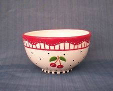 Mary Engelbreit Mixing Serving Bowl Michel Company Cherries Polka Dots