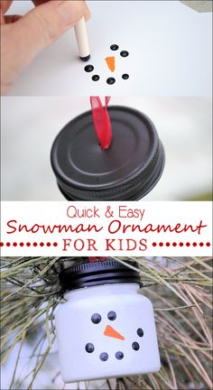 baby food jar craft ideas Easy Snowman Ornaments for Christmas {cmc: paint a orange medicine bottle, after taping off the carrot/nose. Prob take 2 coats. For small gifts, instructions for a treasure hunt, or just a cute ornament! Christmas Ornament Crafts, Snowman Crafts, Christmas Crafts For Kids, Homemade Christmas, Christmas Projects, Holiday Crafts, Christmas Gifts, Kids Ornament, Snowman Ornaments