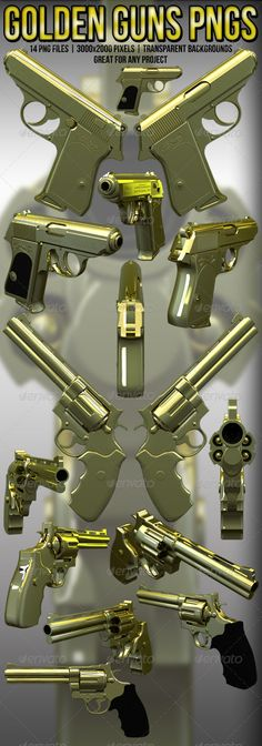 Gold Hand Guns #GraphicRiver 14 Transparent Background Png Files 3000×2000 Pixels Great For Any Project Posters | Flyers | Logos Etc…....... Please Rate Or Leave A Comment Thankyou Poster Mockups Flyer Mock Ups Display Mock-Ups Presentation Mockups 3D Rendered Mockups Logo Mockups Business Card Mockups Advertising Mockups Template Mockups Artwork Mockups Photograph Mockups Sign Mockups Stationary Mockups Mockup Bundles Mock Up Pack Video Mock Up Great For Graphics, Advertisement, C.V…