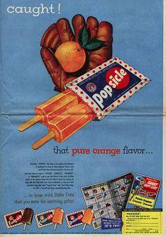 Vintage Trucks Catch that pure orange flavor -- Popsicles - 1953 Old Advertisements, Retro Advertising, Retro Ads, Photo Vintage, Vintage Ads, Vintage Posters, Vintage Food, Vintage Trucks, Vintage Designs