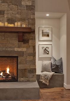 Wood mantle on stone fireplace. Love the base of the fireplace-Woodinville Retreat contemporary family room Family Room Design, Rustic Living Room, House Design, Fireplace Design, Home And Living, Living Room Designs, Contemporary Family Rooms, Home Decor, Fireplace