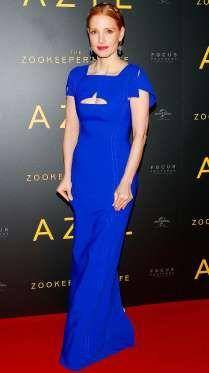 Jessica Chastain rocks a bright blue dress for a screening of her new film The Zookeeper's Wife in W... - Aleksander Majdanski/Newspix/INS