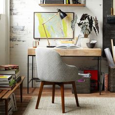 Buy west elm Saddle Office Chair, Painted Stripe/Gravel Online at johnlewis.com