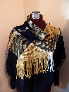 Hand Woven Triangle Shawl 100% Wool and by whitesheepprimitive