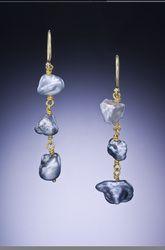 Natural Tahitian Keshi Pearl 18 Karat Gold Earrings -Available Gallery - Paul Farmer Goldsmith Tahiti, Farmer, Jewelry Art, Gold Earrings, Pearl, Gallery, Natural, Gold Stud Earrings, Bead