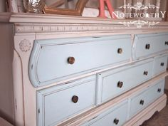 Blue and Cream Painted Changing Table or Dresser by noteworthyhome, $450.00 two toned painted dresser, changing table, light blue and cream, vintage hardware, custom painted furniture, noteworthyhome.com, brass hardware, blue nursery, childs room