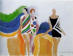 Les filles en maillot de bain, 1928 Aquarel on paper