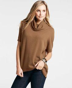 Petite Cashmere Cowl Neck Short Sleeve Sweater