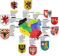 Podział administracyjny Polski wg. historycznych prowincji i województw. Część znajduje się poza granicami obecnej Polskii.