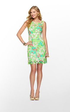 Lilly Pulitzer Shiloh, spring green and pink and perfect for a daytime summer wedding!