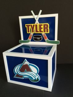 Hockey themed GIFT CARD MONEY BOX. Could be any name...any team