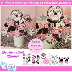 DIY | Minnie Mouse Birthday | Minnie Decorations | Minnie Centerpiece | Minnie Mouse Printable Centerpiece Epic Parties by REVO