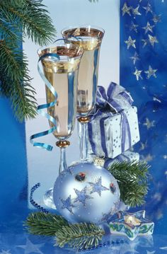 Merry Christmas & Happy New Year - Marianna Lokshina Christmas Blessings, Merry Christmas And Happy New Year, Blue Christmas, Christmas Wishes, Christmas Greetings, Christmas Time, Holiday, New Year Wishes, Nouvel An