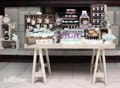 www.kamalion.com.mx - Mesa de Dulces / Candy Bar / Postres / Vintage / Rustic / Baby Shower / Mint  Purple / Menta  morado