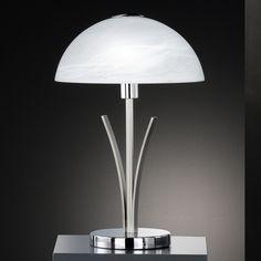 LHG Tischleuchte in Nickel-matt / Chrom mit Alabasterglas, Höhe 40cm - inklusive Leuchtmittel 1x E14 25W 114913 Jetzt bestellen unter: https://moebel.ladendirekt.de/lampen/tischleuchten/beistelltischlampen/?uid=25a11274-f1ca-5a54-a5f1-40dba1650ada&utm_source=pinterest&utm_medium=pin&utm_campaign=boards #leuchten #lampen #tischleuchten #beistelltischlampen Bild Quelle: www.wohnlicht.com