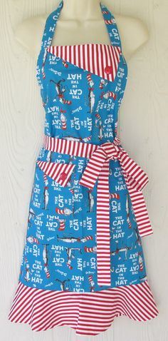 Cat in the Hat Apron Dr Seuss Full Apron for Women by KitschNStyle  ~ Great idea for teachers on Cat in the Hat Day