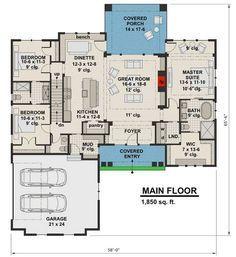 Highly-Detailed Craftsman Home Plan with Bonus Suite Over Garage - floor. - House Plans, Home Plan Designs, Floor Plans and Blueprints Basement House Plans, Craftsman House Plans, New House Plans, Dream House Plans, Small House Plans, House Floor Plans, Craftsman Homes, Craftsman Style, Craftsman Interior