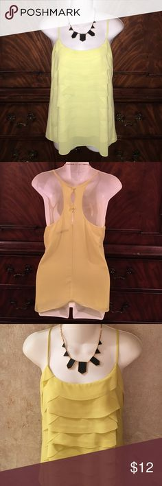 Layered Racerback Tank Yellow-green layered front fabric Racerback tank. EUC. Worn once. Two buttons in back. No spots, rips, etc. thin straps. Looks great with a dark pair of skinny jeans and some heels. Ask any questions. Third photo is best depiction of true color. Tops Tank Tops