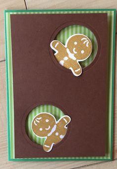 Gingerbread men peekaboo using the Cookie Cutter Christmas bundle from Stampin up - ausgestochen weihnachtlich