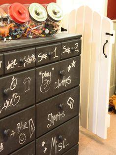 HGTV Toddler to Teen: 15 Clutter-Busting Kids' Room. I like the candy jars better than the chalkboard dresser idea Kids Dresser Painted, Boy Dresser, Kids Dressers, Bedroom Dressers, Painted Furniture, Refurbished Furniture, Dresser Drawers, Chalkboard Dresser, Chalkboard Paint