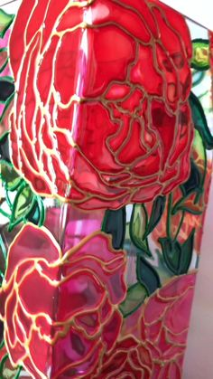 "Stained Glass Vase ""Peonies"" Amazing Candlestisk And Square Flowers Vase Cozy Home Decor Night Light Pink And Red Flowers Modern Style - Kristina Akatova/stained glass art - Glass Painting Patterns, Glass Painting Designs, Stained Glass Patterns, Glass Bottle Crafts, Wine Bottle Art, Painted Glass Bottles, Broken Glass Art, Sea Glass Art, Fused Glass"