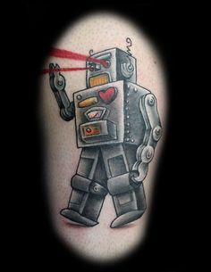 Robot tattoo inspired by Dan Mangan's song Robots. Design and tattoo by Anthony Jenkins (Way Cool Tattoos) Toronto. Vintage Robots, Retro Robot, I Robot, Tattoo Skin, I Tattoo, Cool Tattoos, Robot Tattoo, Tattoo Toronto, Laser Tattoo