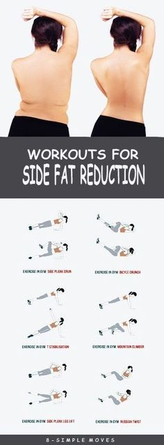 8 Effective Exercises To get rid of Side Fat. by trisha 8 Effective Exercises To get rid of Side Fat. by trisha Fitness Workouts, Easy Workouts, Fitness Diet, At Home Workouts, Fitness Motivation, Health Fitness, Workout Routines, Workout Plans, Side Workouts