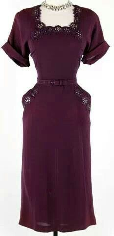 1940's purple rayon cocktail dress with rhinestone embellishments and floral lace appliques - I love this color!