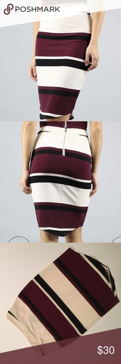 J.O.A. Just one answer striped body con skirt NWT.   NO TRADES. NO HOLDS. NO LOWBALLERS. NO NONSENSE J.O.A. Skirts