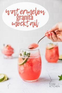 A simple mocktail with refreshing and sweet iced Watermelon Granita topped with sparking lime water – or a flavor of your choice! Top with sparkling rosè for a spiked beverage! Watermelon Granita, Watermelon Margarita, Sweet Watermelon, Watermelon Recipes, Quick Recipes, Quick Easy Meals, Summer Recipes, Summer Drinks, Fun Drinks