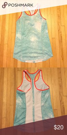 NIKE athletic top Tank top, aqua and white splotches pattern, neon orange lining Nike Tops Tank Tops
