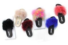 Womens Fluffy Feather Fur Slide Sandal Mules Slipper Shoe Open Toe Low Flat Heel | Clothing, Shoes & Accessories, Women's Shoes, Sandals & Flip Flops | eBay!