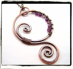 Purple Amethyst Copper Swirl Pendant with Chain