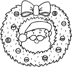 santa wreath coloring pages - Merry Christmas Coloring Pages, Santa Coloring Pages, Free Printable Coloring Pages, Coloring Pages For Kids, Coloring Books, Kids Coloring, Coloring Sheets, Christmas Words, Christmas Colors