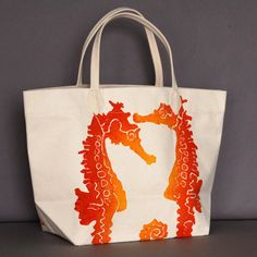 Seahorse Clementine Canvas Bag