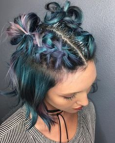 #glittereverything #glitterroots #braids #colorfulhair #pastelhair #trendyAF #spacebuns #hair #hairstyle #haircolor